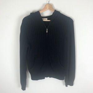 Michael Kors Cable Knit Black Zip Up Jacket - XL